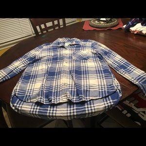 AE Boyfriend Fit Flannel Shirt, Large